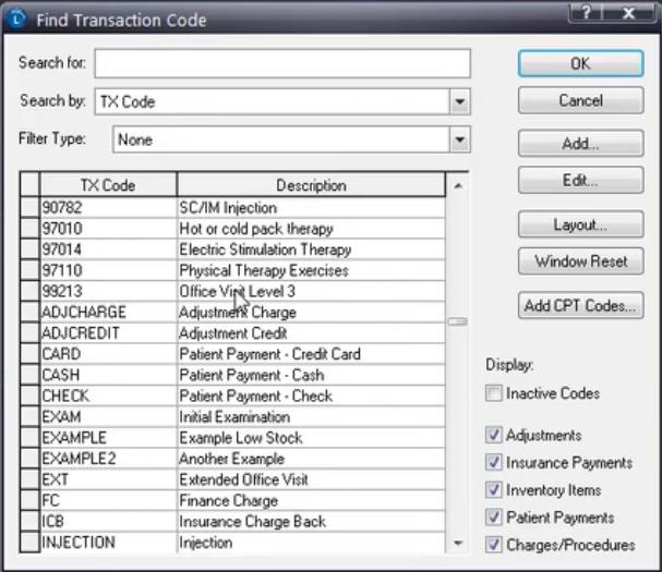 Lytec Transaction Codes